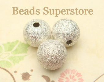 8 mm Silver-Plated Brass Stardust Round Bead - Nickel Free and Lead Free - 25 pcs