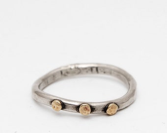 Orion Ring, Textured Sterling Silver Stacking Band with Brass Accents and Distressed Rustic Finish