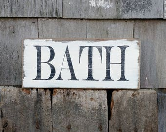 Bath powder room sign on reclaimed barn wood hand-painted distressed READY 2 SHIP