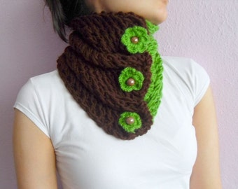 St Patricks Day Gift  Chocolate Brown and Green Neckwarmer Gift for Her,Pistachio Buttons Four Leaves Clover Brown Shawl