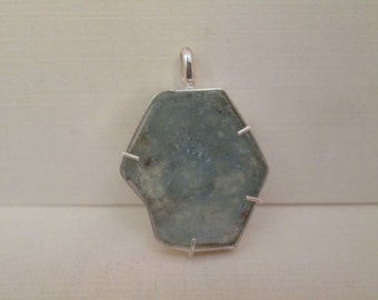 Aquamarine Slice Pendant in Sterling Silver