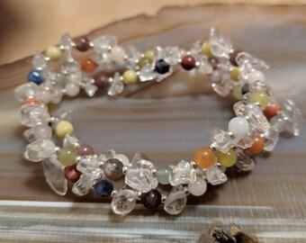 Touche de couleur multicolore de pierres précieuses stretch puce perle bracelets ensemble et de trois en quatre tailles différentes!