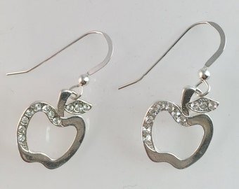 Sterling Silver Apple With Crystal Earrings