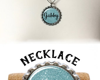 Personalized Necklace, Wife Gift, Charm Necklace, Gifts Under 10, Customize This, Gift For Her, Your Name Here, Boho Necklace, Blue Necklace