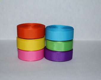 "5/8"" (16mm) Rainbow Bright Solid Grosgrain Ribbon Lot (Choose 3 or 5 yards EACH of 6 different colors)"