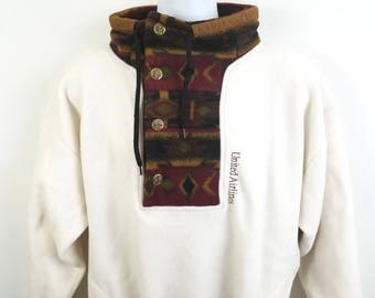 Vintage United Airlines Sweater Jacket See Measurements Aztec Navajo Collar