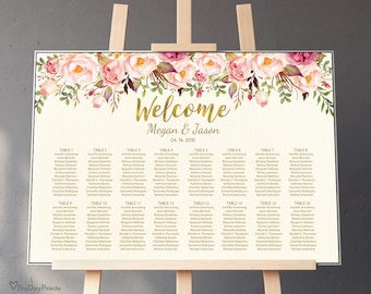 Wedding Seating Chart Template, Ivory Boho Floral Wedding Table Plan, Landscape, #A009, INSTANT DOWNLOAD, Editable PDF