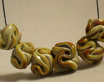 Lampwork beads/SRA lampwork/beads/ nuggets/fall/organic/twisted/colorful/sculptural/