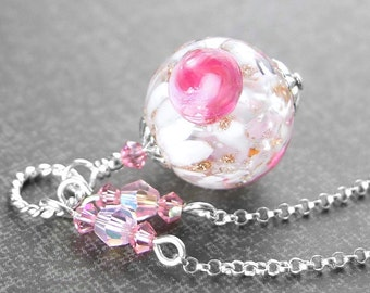 White Rose Pink Necklace Sterling Silver Authentic Venetian Murano Glass Pendant Necklace Pink Artisan Glass Rose Flower Necklace