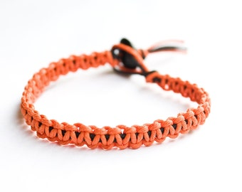 Orange and Black Friendship Bracelet Hemp Stackable