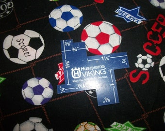 "1 Yard 9"" x 40"" Soccer Balls Goal Soccer Free Kick on Black Background Sports Shamash & Sons Cotton Fabric 1998 Ready To Ship"