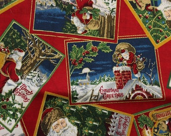 "Vintage Santa Cards on Red by Joan Messmore 100% cotton 42""-44"" wide VIP print Cranston Print works"