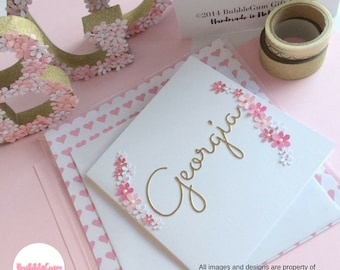 Name Cards/Personalised/Gold Name/Botanical/Birthday card/Unique/Pink flowers/Greeting card/Handmade card/Just because/Names/Floral Card