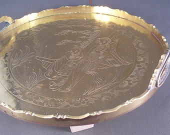 SALE Antique Chinese Brass Tray 1920s Chinese Export SALE