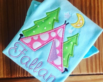 Girl's Camping Tent Personalized Appliqué Tshirt