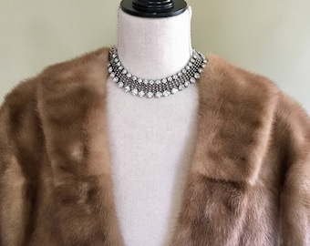 Vintage Mink Fur Shrug Honey Brown Blonde Stole Capelet Bolero 50s Style Women's Ladies Wedding Wrap