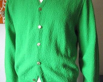 Vintage 60s Kelly Green Orlon Knit Cardigan Women's XL/Men's Large