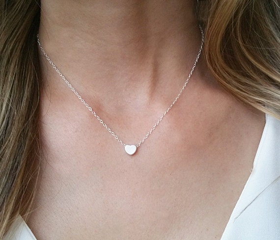 Silver heart necklace heart pendant necklace mothers aloadofball Images