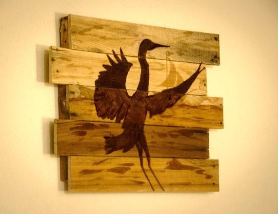 Heron painting Blue heron art Lake house decor Lake house art