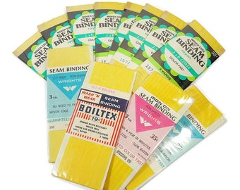 12 Vintage Packages YELLOW Seam Binding Tape, Sewing Craft Supply, J.P. Coats, Woven Edge Rayon,