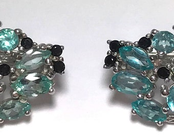 Apatite and Black Spinel 925 Sterling Silver 1940s Style Retro Earrings