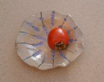 Lavender ceramic dish - Trinket holder with lavender flowers - Pottery candy tray - Handmade salad bowl -  Stoneware tapas dish