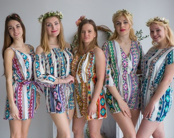 Aztec Geometric Pattern Mismatched Rompers By Silkandmore - Alternative to Bridesmaids Robes, Bridesmaids Gifts, Bridesmaids Rompers
