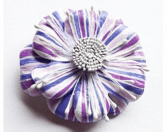 leather flower brooch, lilac flower , hair clip, broach, hand painted flower, OOAK, flower corsage, leather hair pin, flower hair pin, (lf9)