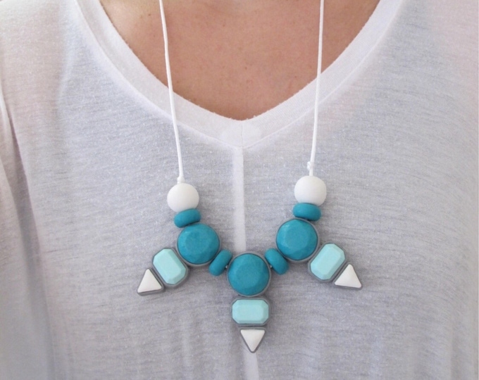 CLEARANCE DYNASTY BIB// Metal free statement necklace// Little Tusk teal, mint & white necklace// Colorful geometric gemstone bib// #SN3038A