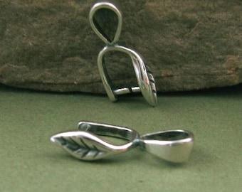 Sterling Silver Pinch Bails  -   2 Organic Leaf Bails -  B12