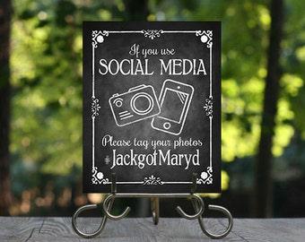 Chalkboard Wedding Hashtag Social Media Sign, Printable Wedding Sign, Rustic Wedding Sign, Wedding Decoration, Custom Wedding Decor