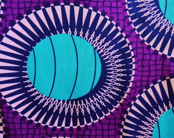 Purple and Turquoise Oval Patter African Wax Print