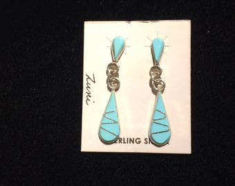 Authentic Native American sterling silver and turquoise teardrop dangle earrings