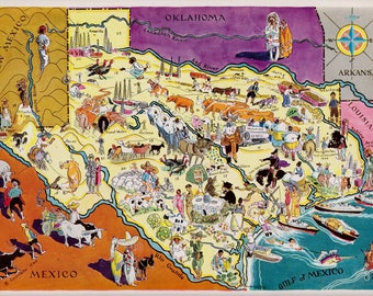 30's TEXAS Picture Map Pictorial State Cartoon Map Print Travel Map Gallery Wall Art Home Decor Gift for Map Collector and Traveler