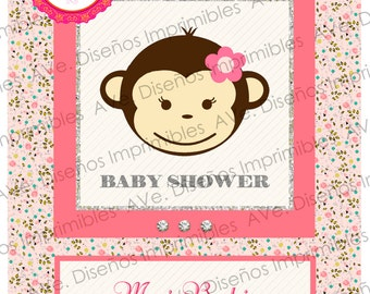 Girl Monkey Baby Shower Invitations, Monkey Girl Baby Shower Invitations, Baby Girl monkey Invitations, Monkey Girl Birthday Invitations