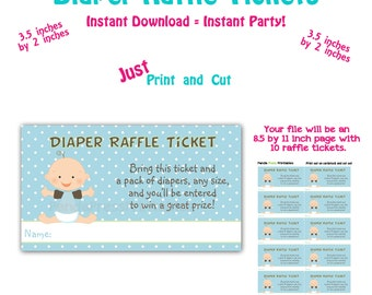 Printable Diaper Raffle Ticket Baby Shower Raffle Ticket