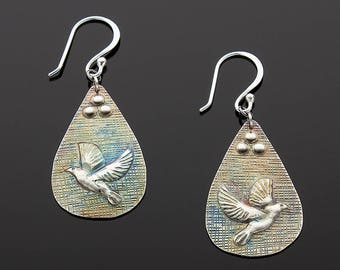 Handmade Sterling Silver Spirit of Life Dove Earrings