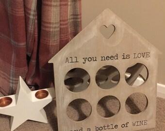 Wine Rack for 6 Bottles Rustic Wood - SBHEART375