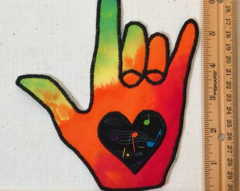 Tie dyed i love you hand American Sign Language fabric patch