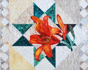 Art Quilt Pattern - Tiger Lily Applique Quilt - Immediate Download PDF