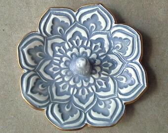 Gray Lotus Ceramic Ring Holder  Ring Bowl gold edged