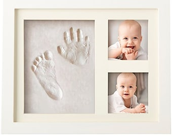 Baby Handprint Kit by Laura Baby! SPECIAL NO MOLD Version! Picture Frame (White) Non Toxic Clay! Footprint kit, best baby shower gifts!