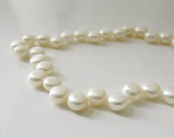 Button Pearls, White Pearls, Freshwater Pearls, Genuine Pearl, Cream Pearls, Topped Drilled Pearls,  5mm  6mm, Full Strand BP551