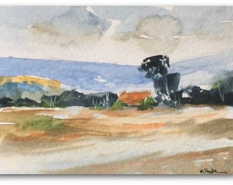 Landscape ORIGINAL Miniature Watercolour  'Hidden Barn' Countryside Barn ACEO For him ForHer HomeDecor Wall Art Gift Idea, Free Shipping