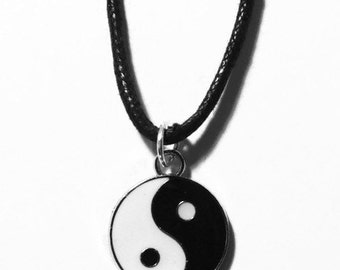 Yin Yang Charm Necklace (Many Chain Lengths Available) Choker Silver Chain FREE SHIPPING!