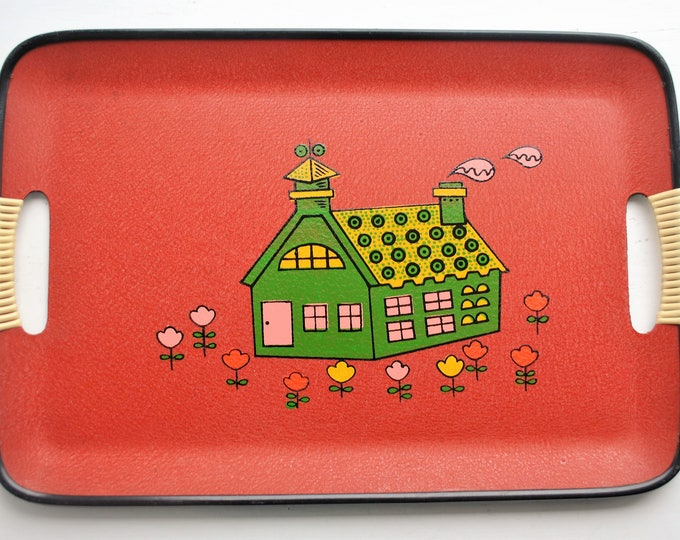 Mid Century Serving Tray Wrapped Handles Flowers Retro Japan 1960s Mint