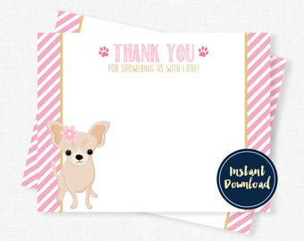 Chihuahua Thank You Note, Baby Shower Thank You, Puppy Shower Thank You Printable INSTANT DOWNLOAD