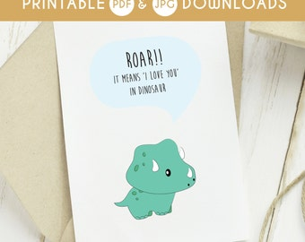 printable i love you card, funny i love you card, download love you card, dinosaur printable card, download dinosaur card