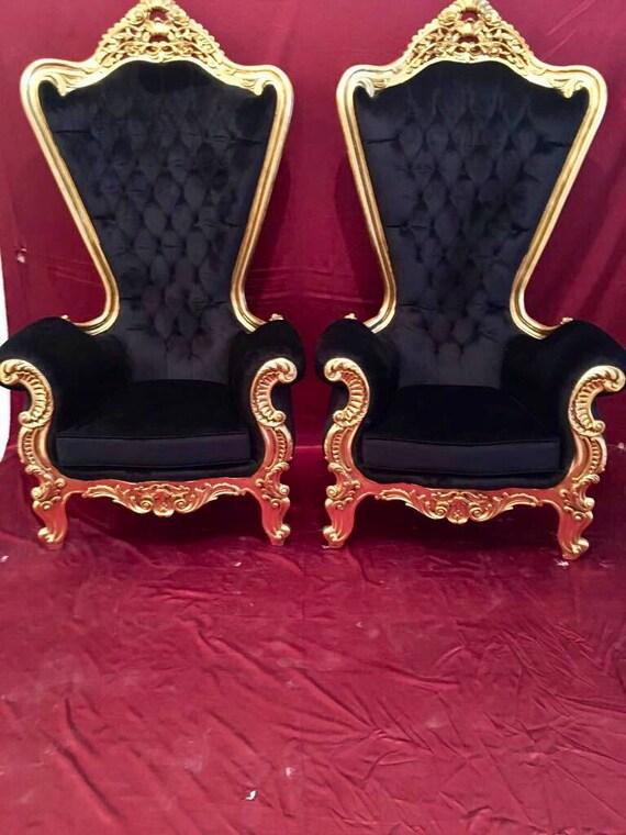 Italian Baroque Throne Chair High Back Reproduction Gold Chair