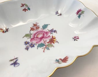 Herend Porcelain Serving Dish / Bowl Pink Floral China Nut or Candy Dish